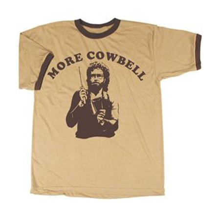 SNL Saturday Night Live More Cowbell Vintage Tan with Brown Ringers T-Shirt - Landshark Snl