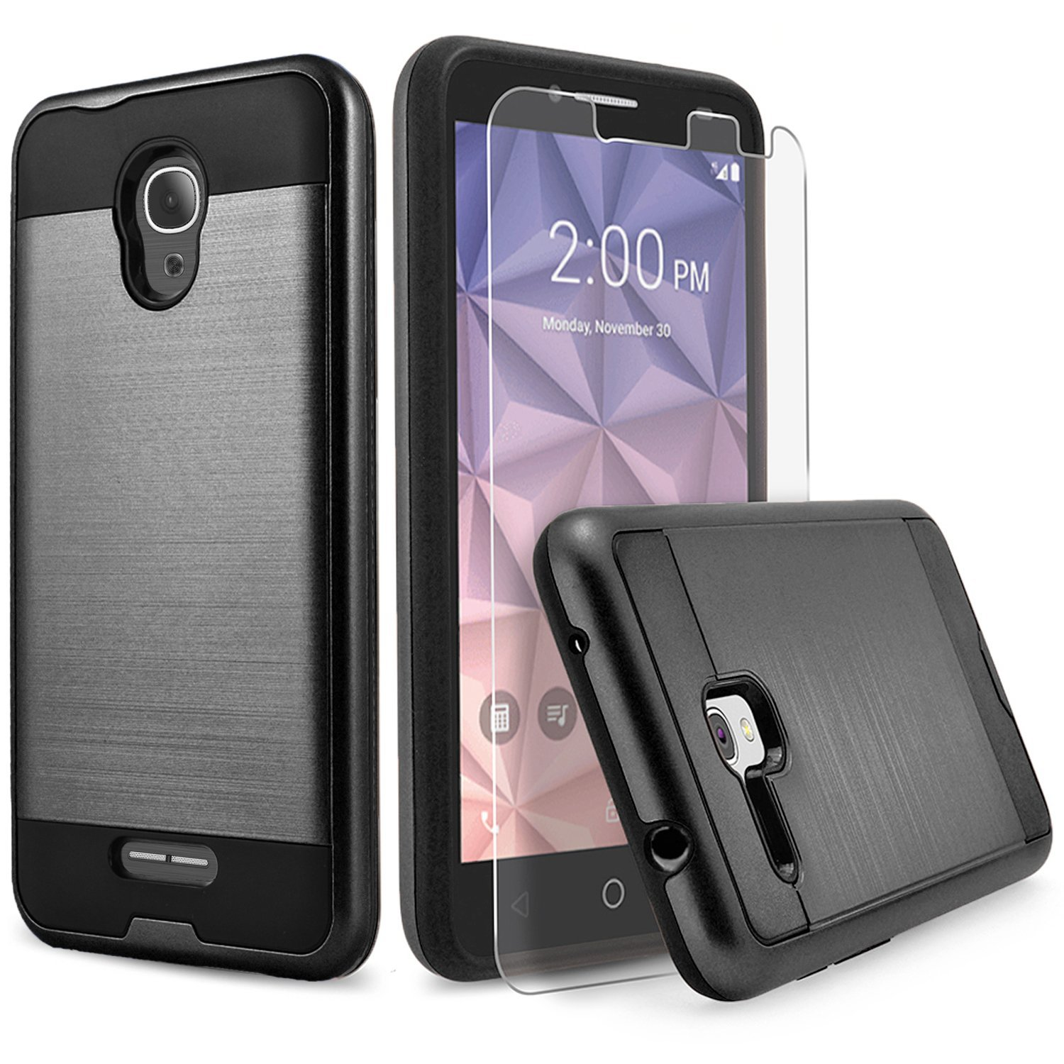 Alcatel Fierce 4 Case, 2-Piece Style Hybrid Shockproof Hard Case Cover with [Premium Screen Protector] Hybird Shockproof And Circlemalls Stylus Pen (Black)