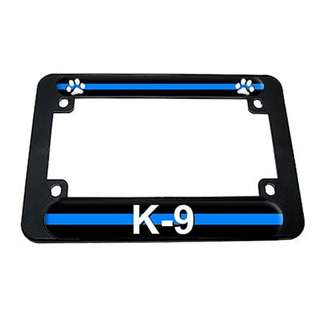 K9 License Plate - Thin Blue Line Paw Print - Police K9 Motorcycle License Plate Frame