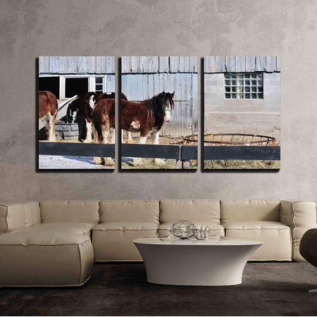 wall26 - 3 Piece Canvas Wall Art - Horses by Barn - Modern Home Decor Stretched and Framed Ready to Hang - 16