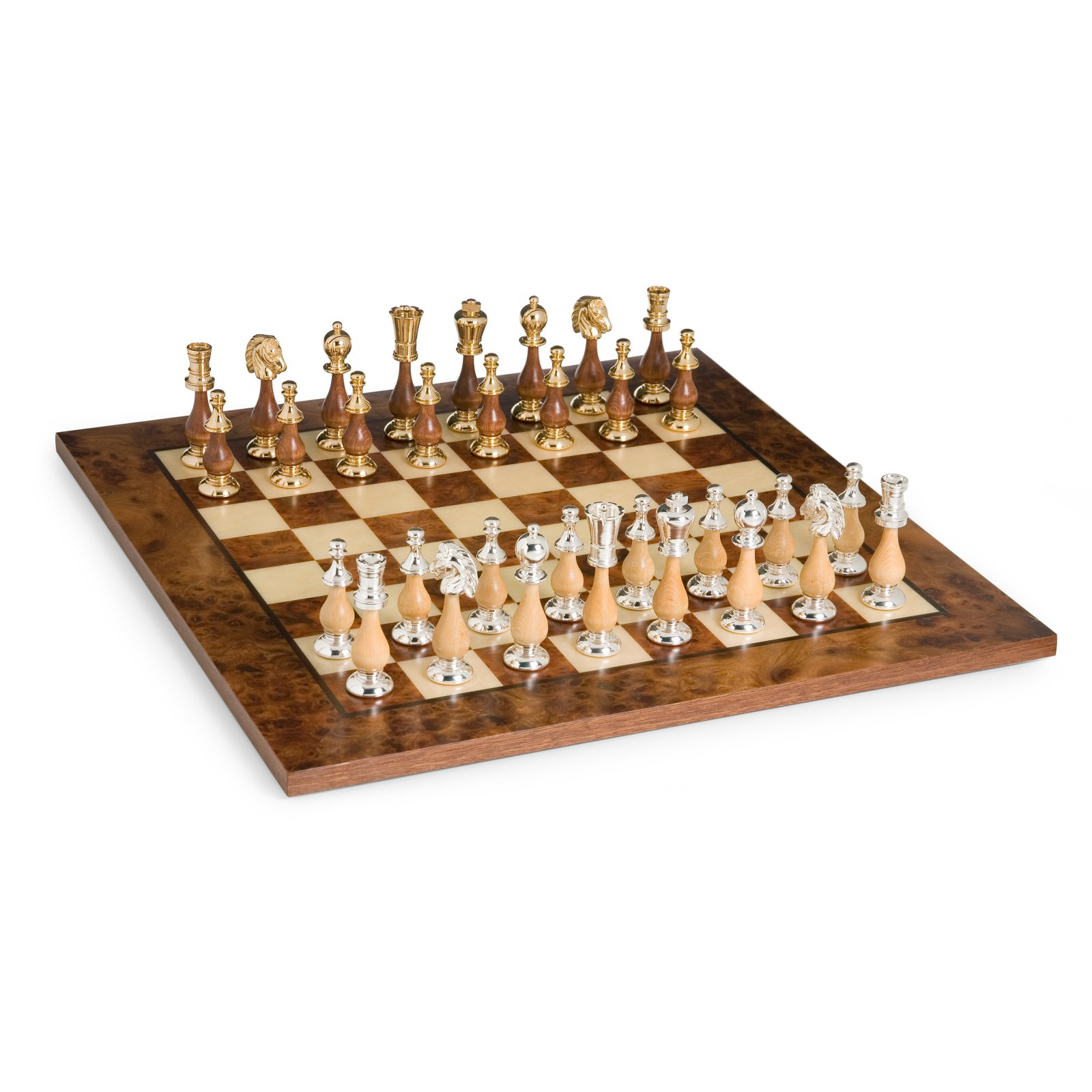 Elegant Gold, Silver & Wood Chess Set