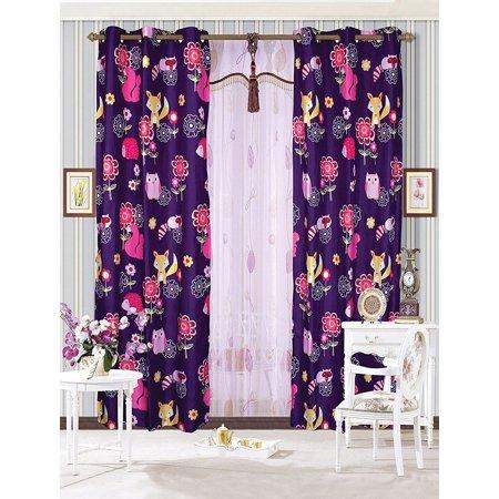 Fancy Linen 2 Panel Curtain with Grommet Teens/girls Owl Fox Animals Purple New