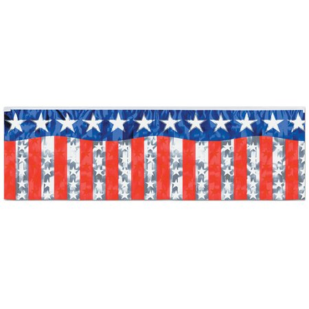 Morris Costumes Party Supplies Patriotic Stars Stripes Fringe Banner, Style BG55500](Patriotic Banner)