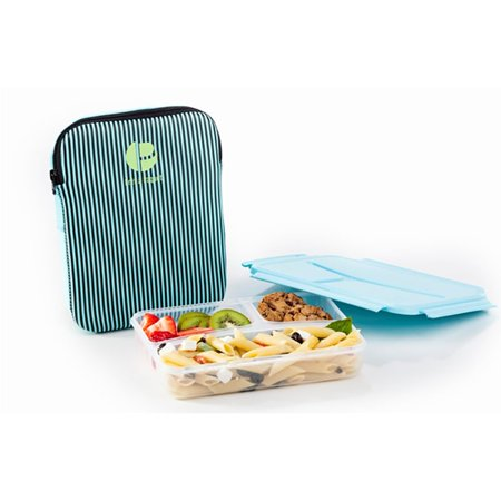 Lime Lunch - Life Story Plastic Divided Compartment Lunch Box Container with Insulated Sleeve