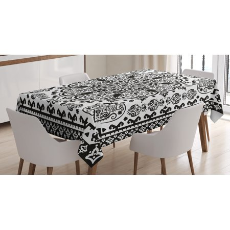 India Tablecloth, Ethnic Mandala Floral Lace Paisley Mehndi Design Tribal Lace Image Art Print, Rectangular Table Cover for Dining Room Kitchen, 60 X 84 Inches, Black and White, by