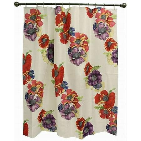 Bacova Poppy Garden Fabric Shower Curtain Colorful Flowers Bath