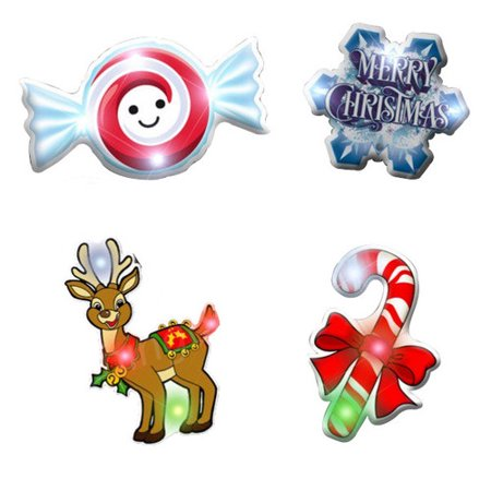Assorted Christmas 1 Flashing Body Light Lapel Pins ()