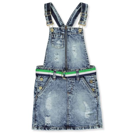 - Chillipop Girls' Belted Denim Overalls Dress