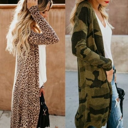 Fashion Women Loose Long Sleeve Cardigan Leopard Kimono Shawl Tops Blouse Coat Jacket