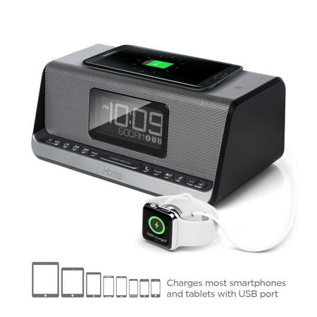 iHome iBN350 NFC Bluetooth Stereo Dual Alarm Clock with Speakerphone, Qi Wireless Charging and USB Out Charging for Any USB Device