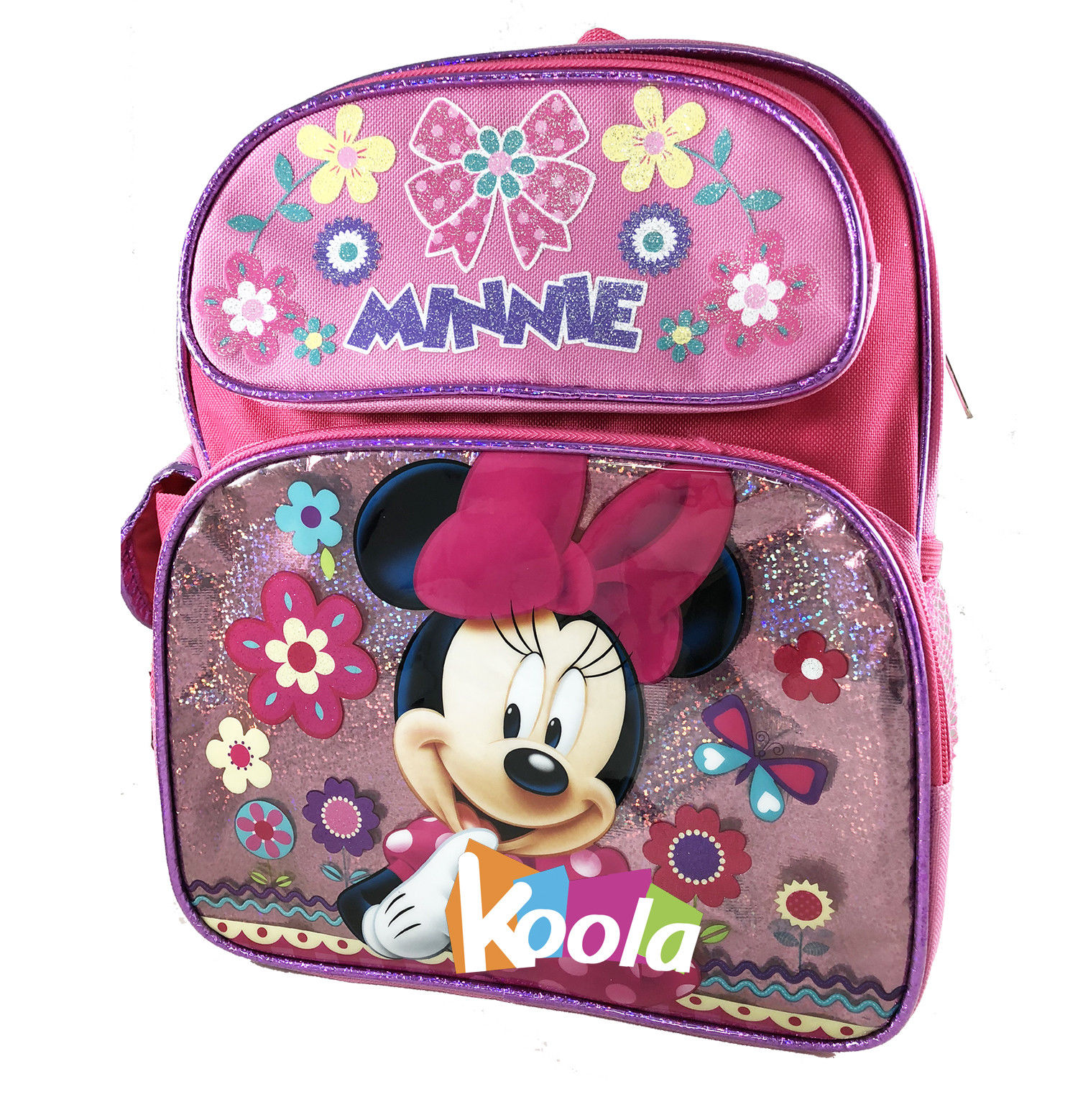 """Disney Minnie Mouse Girls 12/"""" Canvas Pink School Backpack"""