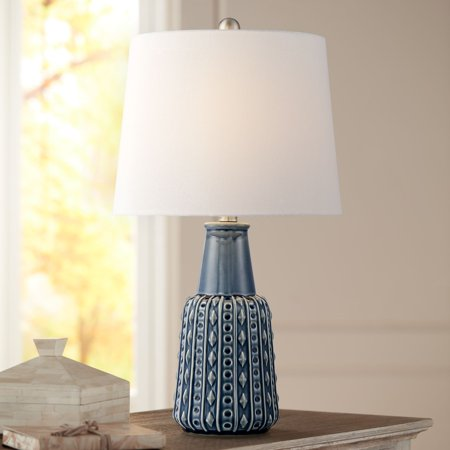 360 lighting traditional accent table lamp blue ceramic - Traditional table lamps for bedroom ...