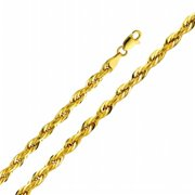 Precious Stars SEC0147220 Yellow Gold 4 mm.  Hollow Rope Chain 22 inch Necklace