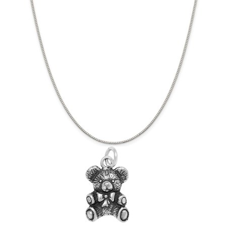 Sterling Silver Teddy Bear Charm on a Sterling Silver 18 Box Chain Necklace