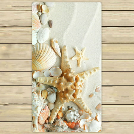 ZKGK Summer Beach with Starfish Sea Shells Hand Towel Bath Towels Beach Towel For Home Outdoor Travel Use Size 30x56 Inches