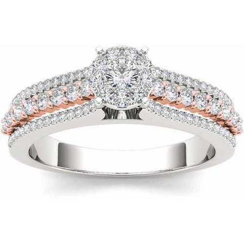 Imperial 1 2 Carat T.W. Diamond Pink Two-Tone Split Shank Cluster 10kt White Gold Engagement Ring by Imperial Jewels