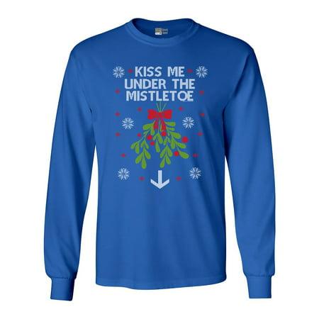 4cc4749088f1c Beach Open - Long Sleeve Adult T-Shirt Kiss Me Under The Mistletoe  Christmas Holidays Funny DT - Walmart.com
