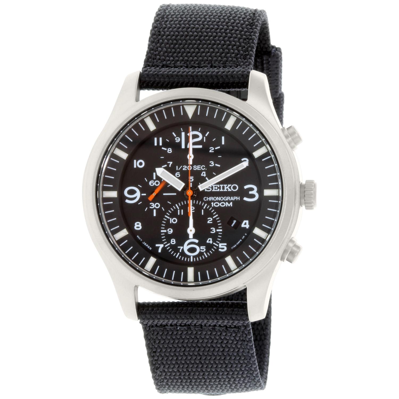 Seiko Men's SNDA57 Black Nylon Quartz Watch