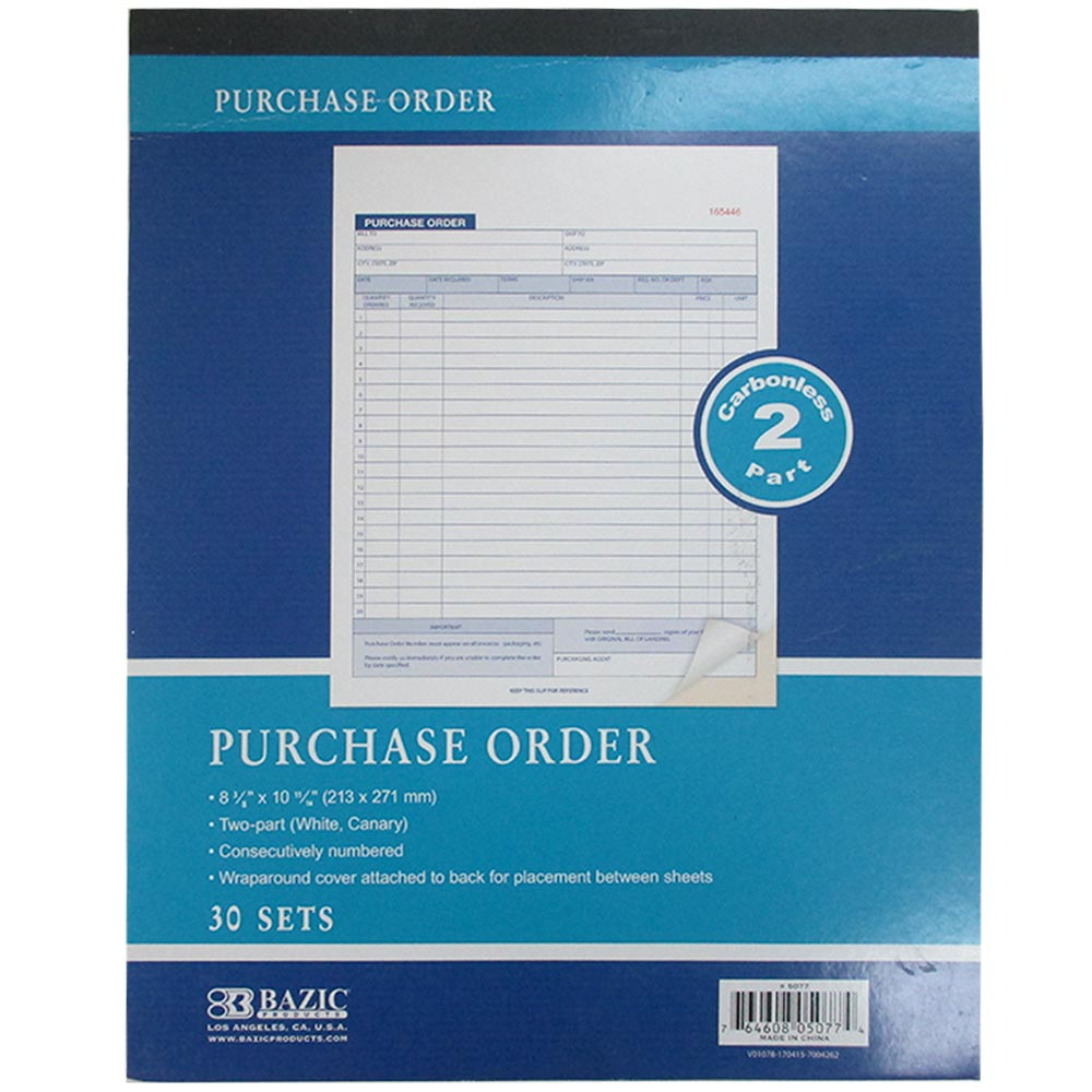 1 Carbonless Purchase Order Receipt Record Book 2 Part 30 Sets Duplicate Copy ! by Bazic