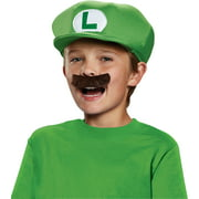 Super Mario Brothers Luigi Kids Hat and Mustache Halloween Accessory, One Size