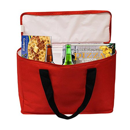 100% Organic Grocery Tote - Earthwise Insulated Grocery Bag Tote Extra Large Heavy Duty Nylon Cooler w/Zipper Closure and Inside Pocket