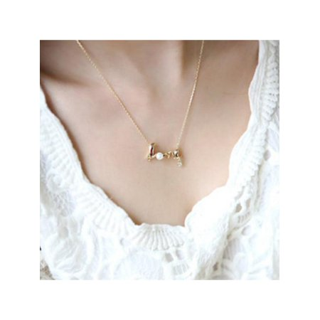 VICOODA Simple Style Necklace LOVE Letter Diamond-encrusted Personality Collarbone Chain Best