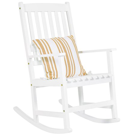 Poly Outdoor Slat (Best Choice Products Indoor Outdoor Traditional Wooden Rocking Chair Furniture w/ Slatted Seat and Backrest for Patio, Porch, Living Room, Home Decoration - White )