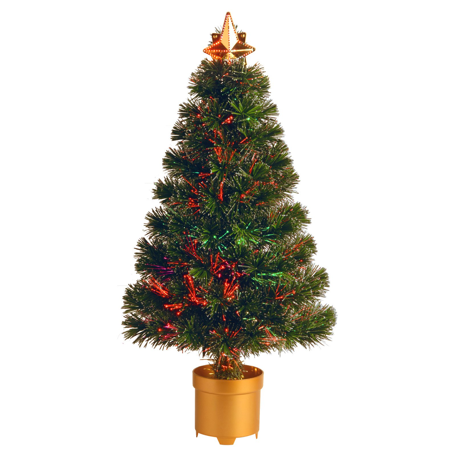 National Tree Unlit 32 Fiber Optic evergreen Firework Artificial Christmas Tree With Top Star And Gold Column Base