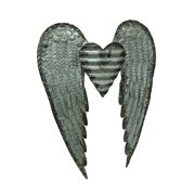 Rustic Galvanized Stamped Metal Art Angel Wings Heart Decorative Wall Sculpture
