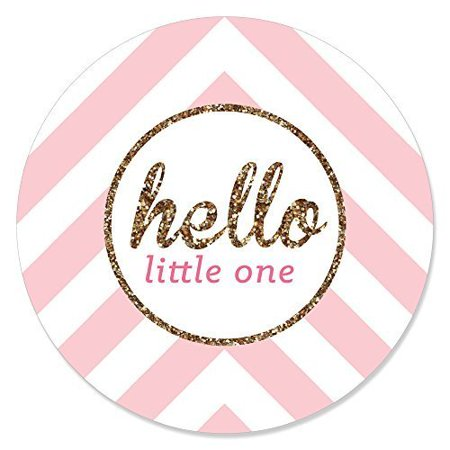 Hello Little One - Pink and Gold - Girl Baby Shower Circle Sticker Labels - 24 Count