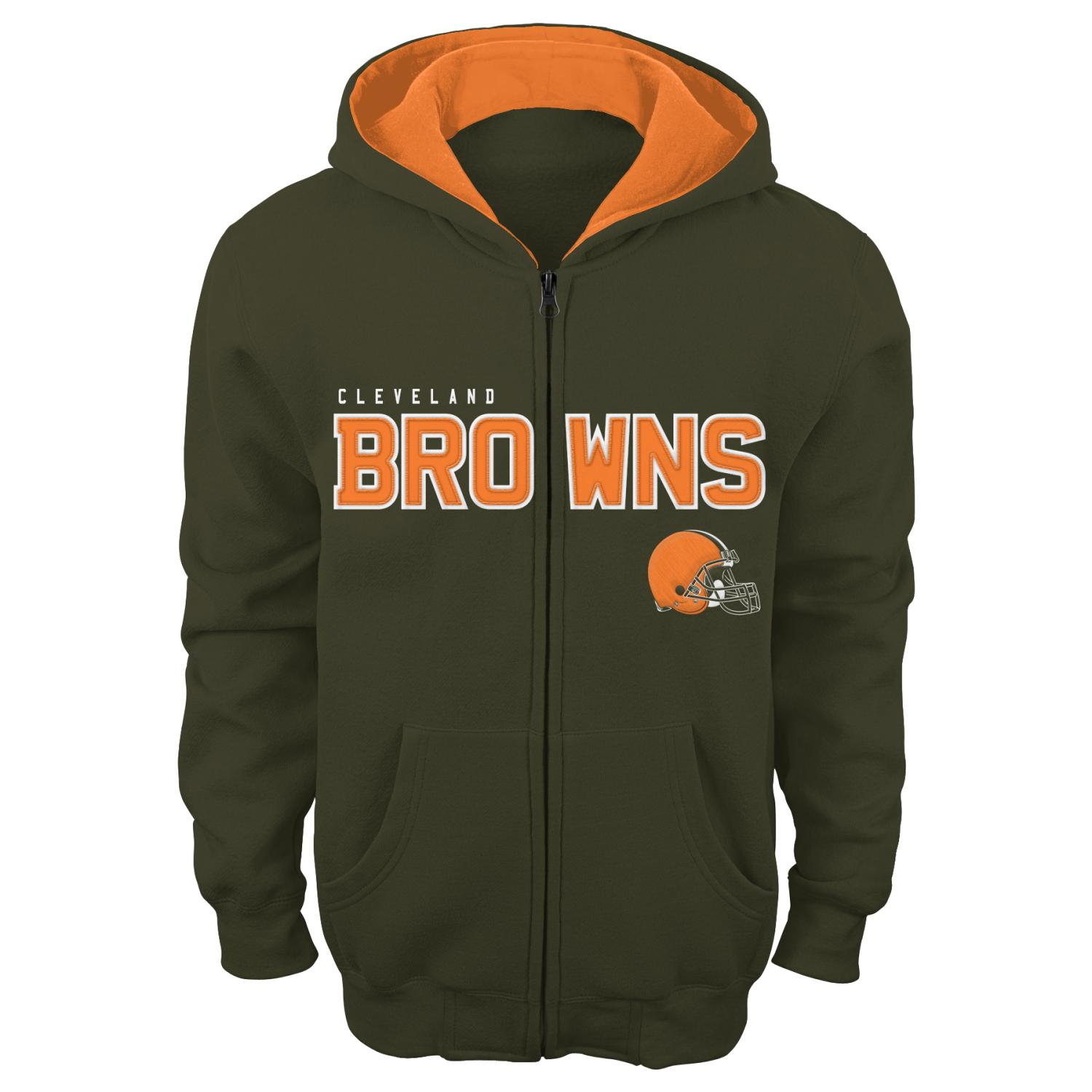 """Cleveland Browns Youth NFL """"Stated"""" Full Zip Hooded Sweatshirt"""