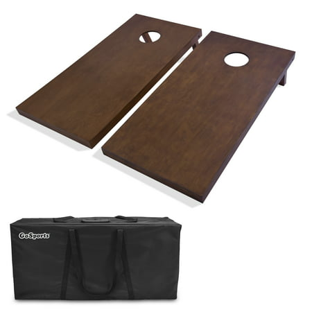 GoSports Regulation Size Wooden Cornhole Set with Brown Finish - Includes Carrying Case