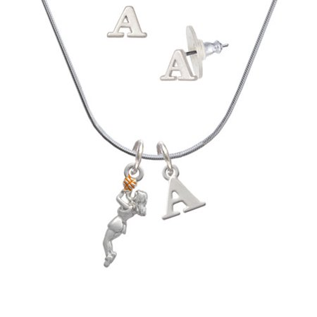 Basketball Player Girl - A Initial Charm Necklace and Stud Earrings Jewelry Set (Initial Balm)