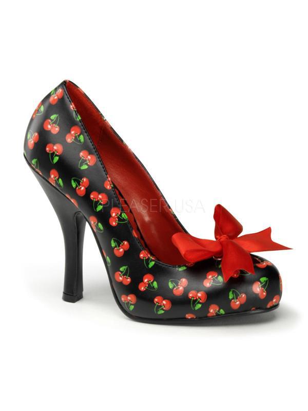 "CUTIE06/B-RPU Pin Up Cutiepie Couture Platforms 4 1/2"" Cutiepie Up Shoes Blk-Red Pu Size: 9 631201"