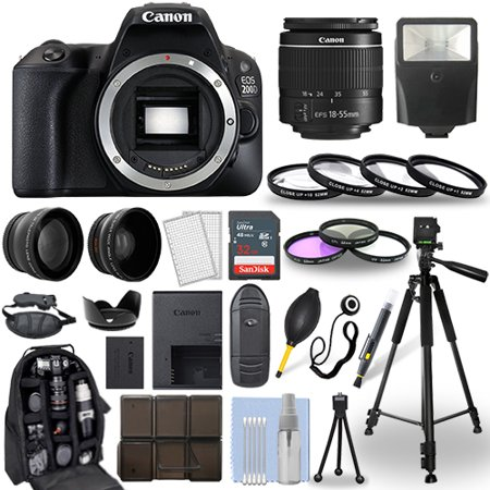Canon EOS 200D / Rebel SL2 DSLR Camera + 18-55mm Lens+ 30 Piece Accessory