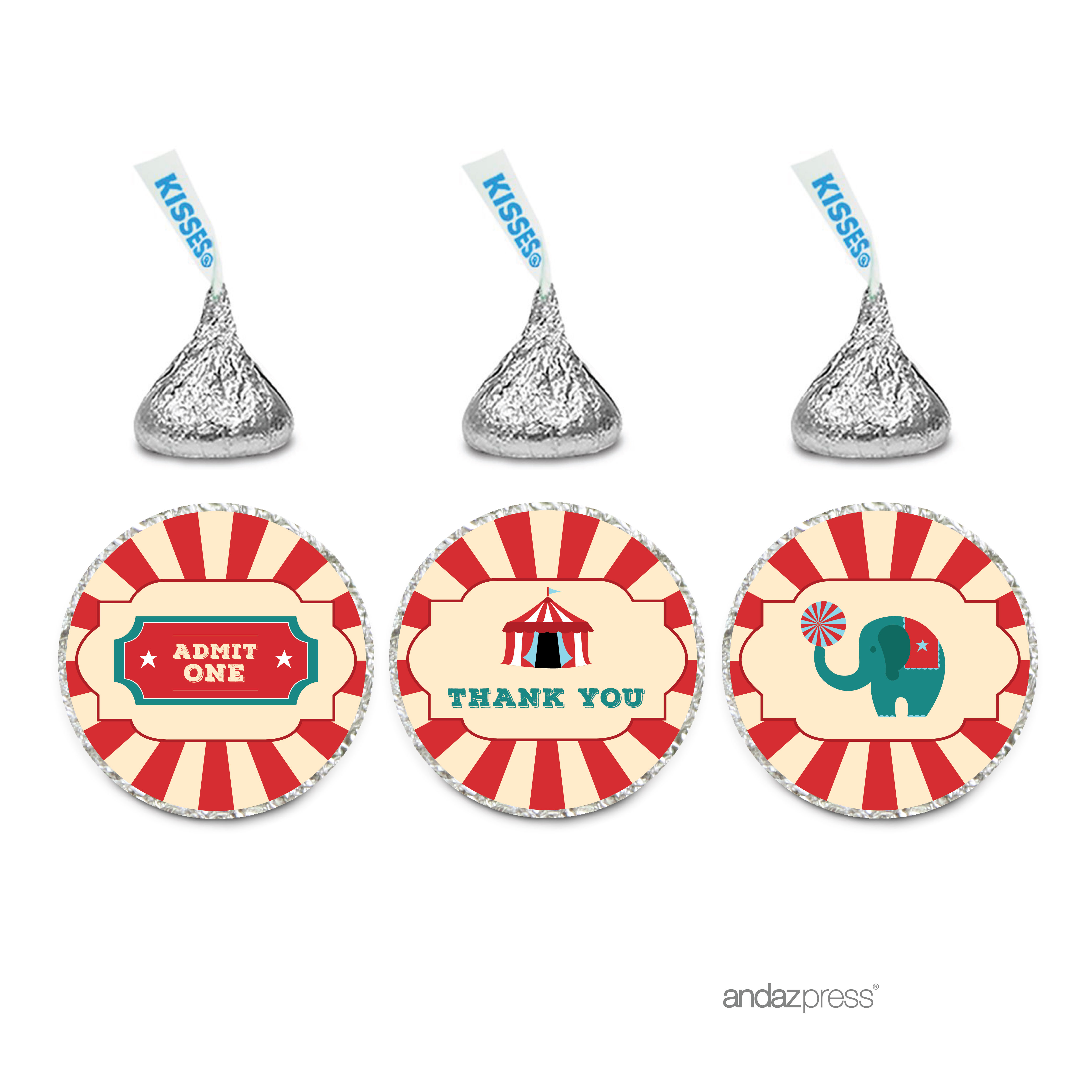 Thank You!  Carnival Circus Birthday Hershey´s Kisses Stickers, 216-Pack