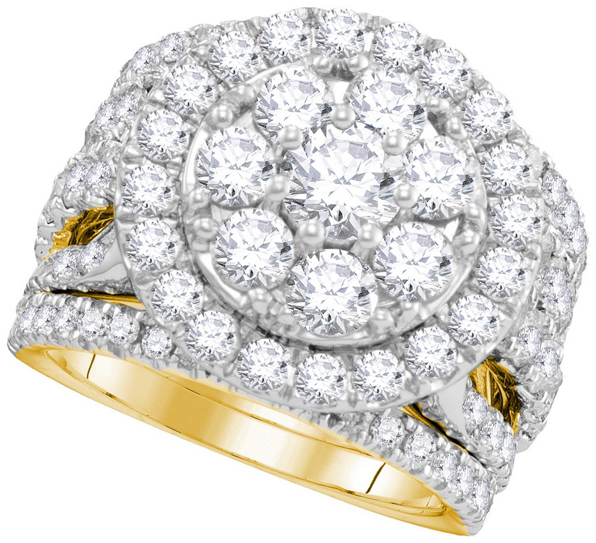 14kt Yellow Gold Womens Round Diamond Certified Halo Bridal Wedding Engagement Ring Band Set ( 4.00 cttw.) by Mia Diamonds