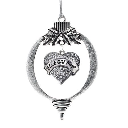 Black Girl Magic Pave Heart Holiday Ornament