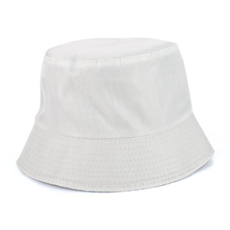 Opromo Unisex Reversible Cotton Bucket Hat Sun Outdoor Fishing Hat Fisherman Cap-White-1pcs - White Bucket Hats