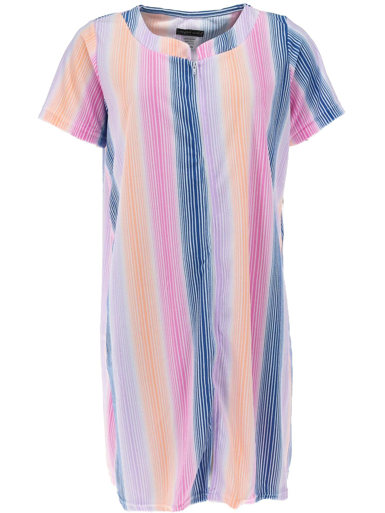 Full Zippered Front, Elegant Emily Womens Plus Size Terrycloth Cover-Up Dress with Pockets