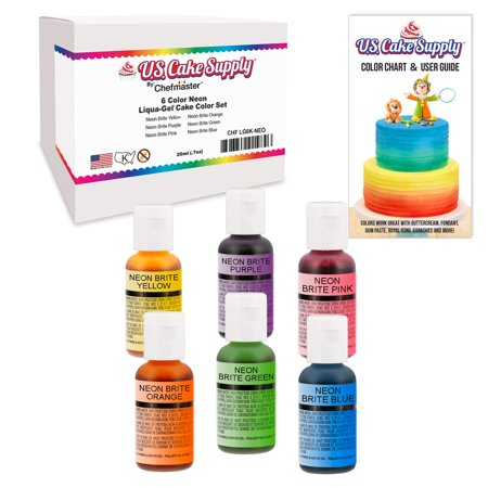 6 Color Neon US Cake Supply by Chefmaster Liqua-Gel Paste Cake Color Set 0.7 fl. oz. (20ml) Bottles