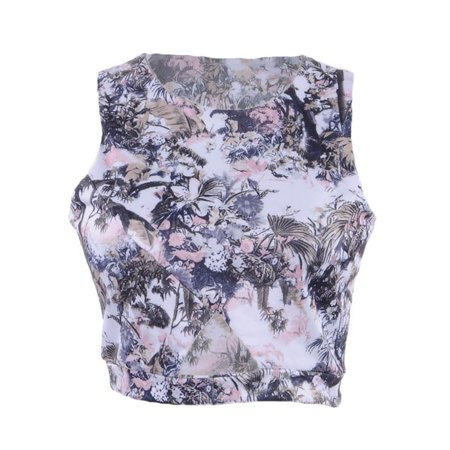 S/M Fit Multicoloured All Over Floral Print Triangle Cut Out Crop Top ()