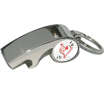 Treble Bass Clef Heart, Music, Plated Metal Whistle Bottle Opener Keychain Key