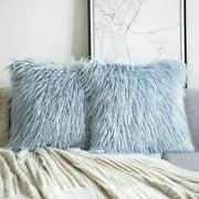 "Phantoscope Merino Style Faux Fur Series Decorative Throw Pillow Cover, 18"" x 18"", Light Blue, 2 Pack"