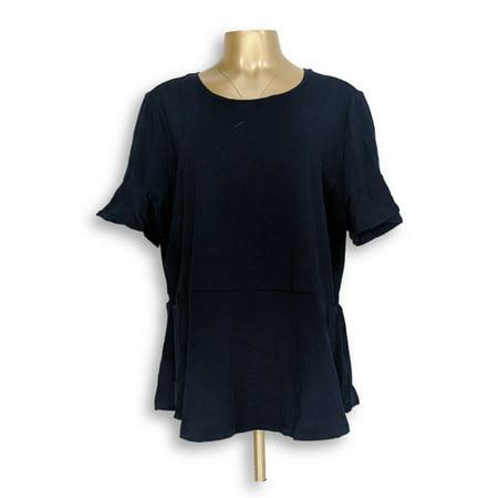 Isaac Mizrahi Live! Women's Top Sz XL Knit Peplum Top Short Black A303170 ()