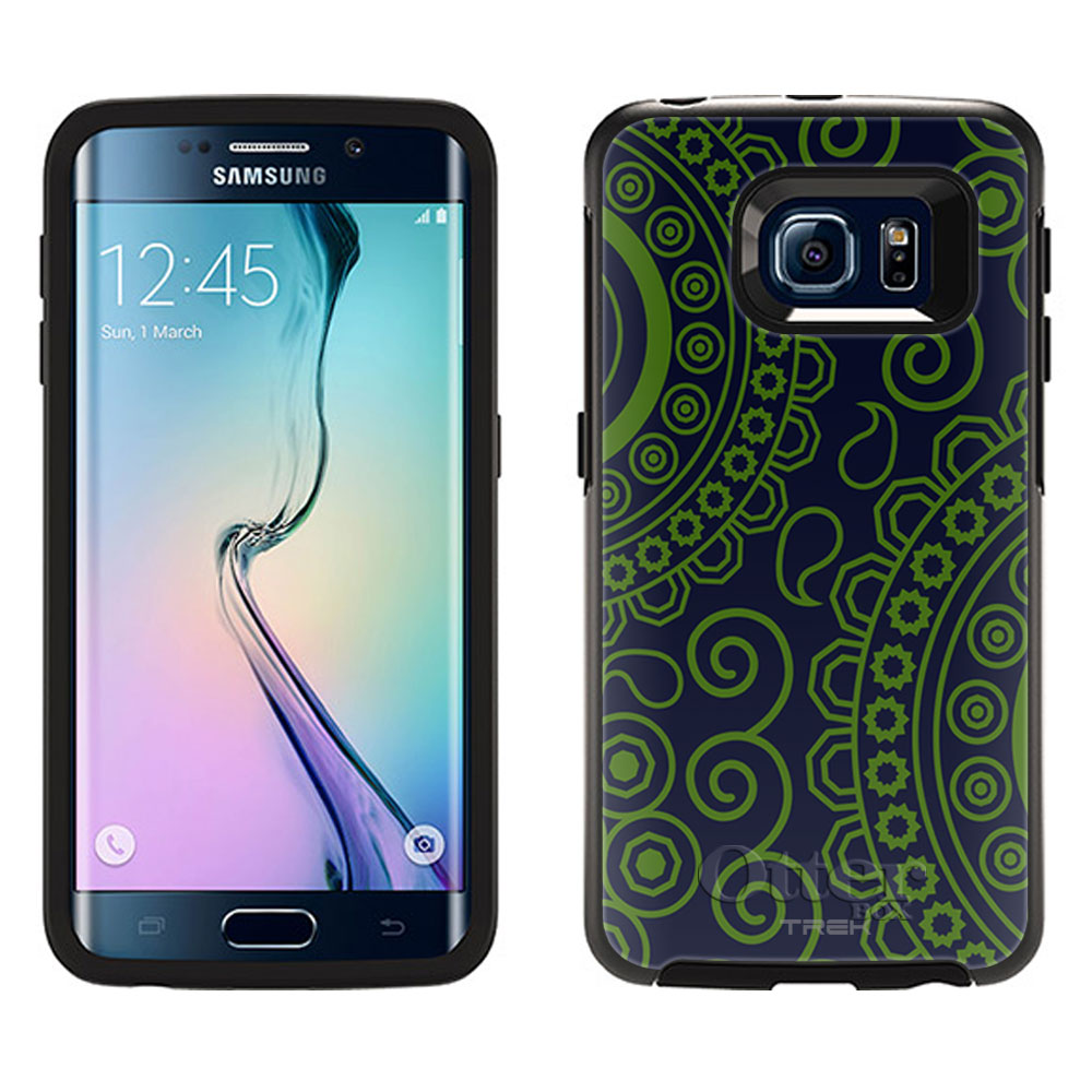 OtterBox Symmetry Samsung Galaxy S6 Edge Case -Paisley Circles Green on Navy OtterBox Case