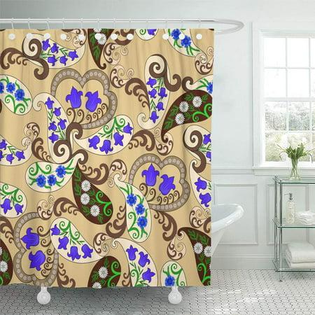 YUSDECOR Blue Small Brown and Beige Paisley Bells Cornflowers Daisies Bathroom Decor Bath Shower Curtain 60x72 inch - image 1 of 1