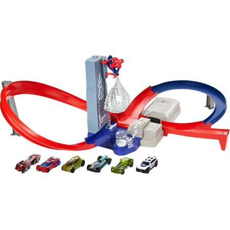 hot wheels spiderman speed circuit showdown track set. Black Bedroom Furniture Sets. Home Design Ideas