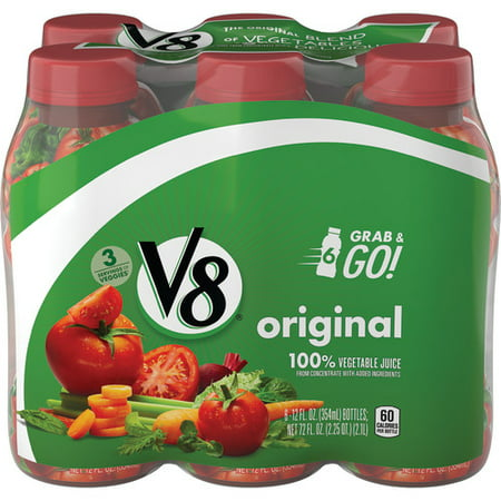V8 Original 100% Vegetable Juice, 12 oz. Bottle (Pack of 6)