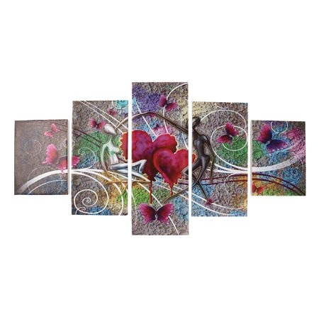 Framed 5Pcs Flower Love Butterfly Canvas Wall Art Decoration Abstract Landscape Printed Paintings Living Room Diningroom Room Home Decor Butterfly Framed Panel Print